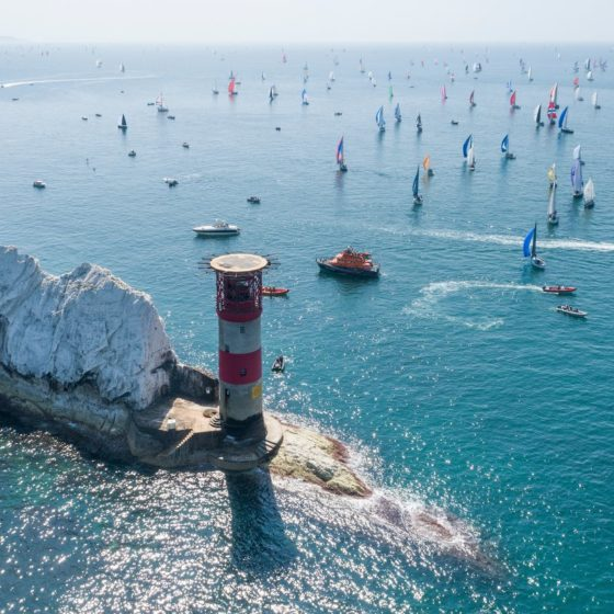 Round the Island Race from above The Needles